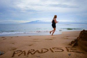 Gail running on the beach.